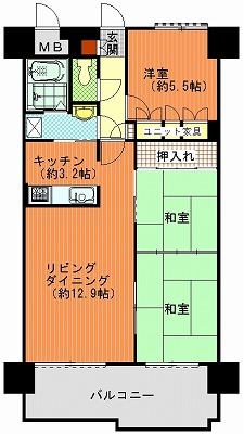 朝日プラザ高松多賀町502間取り図