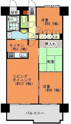 朝日プラザ高松多賀町502間取り図改造1