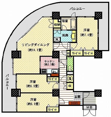ツインタワー瀬戸大橋タワー31-2401間取り図