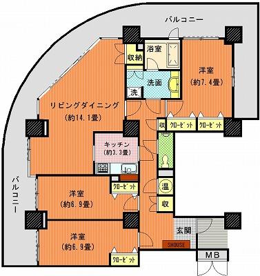 ツインタワー瀬戸大橋タワー31-2401間取り図改造モデル