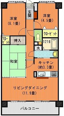ダイアパレス太田第3202間取り図改装