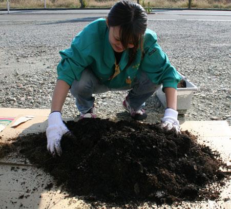 土を混ぜてます