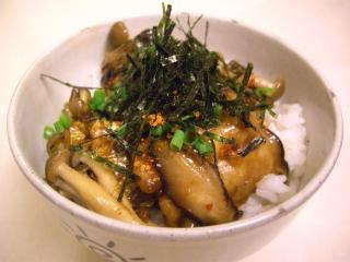 秋刀魚とキノコの秋丼