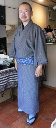 保多織格子に更紗柄帯