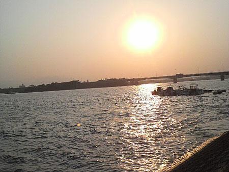 大淀川河口からの眺め