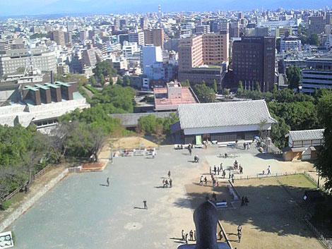 熊本城の天守閣からの眺め