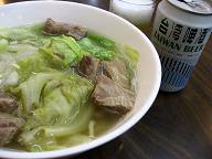 牛肉麺と台湾ビール