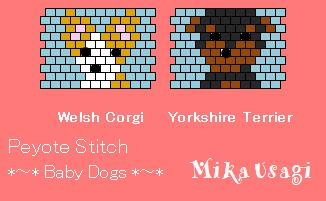peyote stitch Baby Dogs