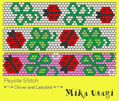 peyote stitch Clover and Ladybird