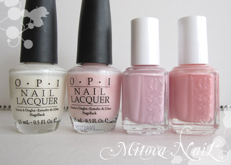 OPI#H29 Time-less Is More(タイムレス イズ モア)/OPI#H35 Isn't it romantic?(イズント・イット・ロマンチック?)/essie#706 Neo whimsical(ネオ・ウィムジカル)/essie#543 My Private Cabana(マイ・プライベート・カバナ)