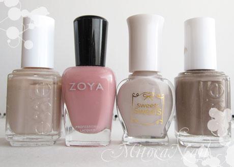 essie#501 Au Natural(オゥ・ナチュラル)/Zoya#ZP244 Mia/sweets sweets  NL35 オフグレイ/essie#766 Glamour Purse(グラマーパース)