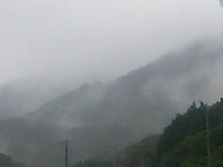 煙る山々!