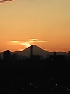 夕日に染まる富士山1
