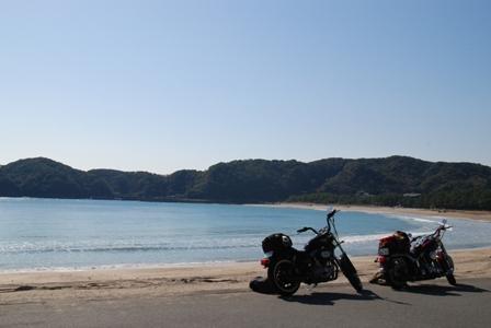 バイクと弓ヶ浜