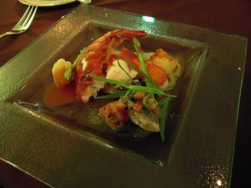 カナダ産フレッシュオマール海老と本日入荷の鮮魚のバプール2種類の味わい