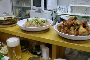 西明石 かえる亭 唐揚 鍋物 叉焼