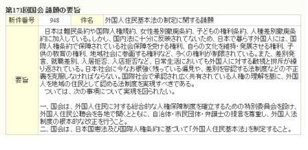 外国人住民基本法の制定に関する請願
