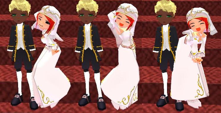 結婚衣装でポーズ