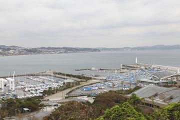 頂上からの江ノ島の景色
