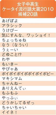 女子中学生ケータイ流行語大賞の候補