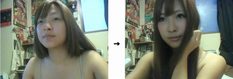 化粧前後の写真