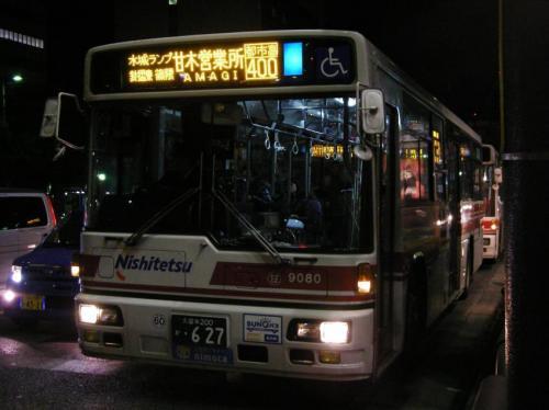 祇園町にて甘木9080.行先表示がLEDに戻された。一生で2回LED化を喰らった車両である