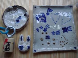 小3夏休み 作品 陶芸、バードコール