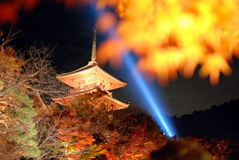 もみじと清水寺の三重塔