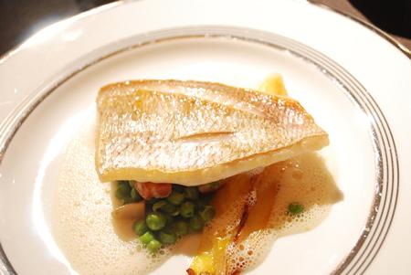真鯛のポアレ チコリのブレゼ パンチェッタとプティポワを添えて 西洋わさびのヴルーテと共に