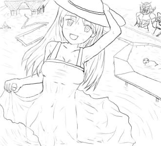 拍手絵_夏の海_線画