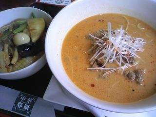 白ゴマたっぷり坦々麺+ミニ中華丼セット@中華彩園 (横浜市)