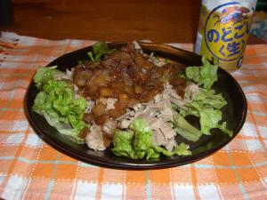 玉ねぎの甘辛たれのせ豚肉炒め