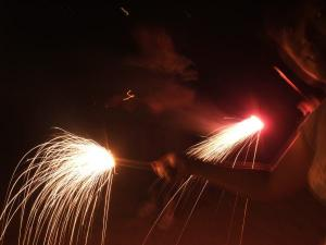夜は花火を楽しみました
