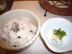 雑穀米とわさび漬け