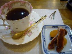 黒豆コーヒーと干柿&あんず