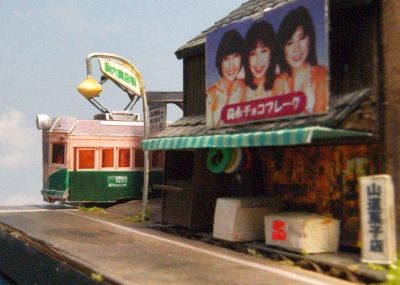 南海平野線駒川町駅ペーパークラフトジオラマ01