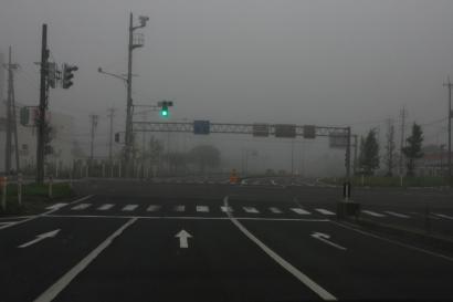 早朝の新潟・霧が濃くて前がみえない