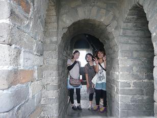 万里の長城三人