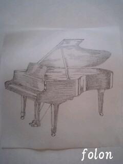 グランドピアノ下絵