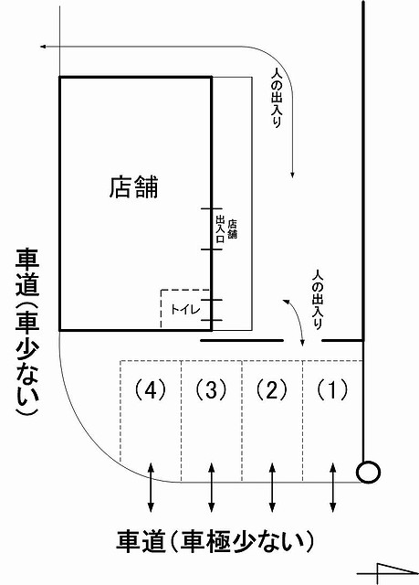 cafe mimosa駐車場見取り図