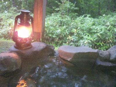 ランプと露天風呂