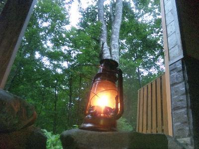 白樺林とランプ