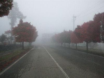 2010年10月26日の野辺山駅前の道路と紅葉