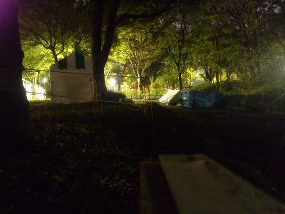 夜の中央公園、ミニSL会場