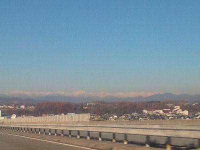 遠くに見える白馬の山々