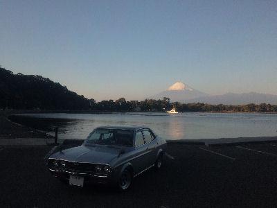 マツダルーチェと大瀬崎から眺める富士山