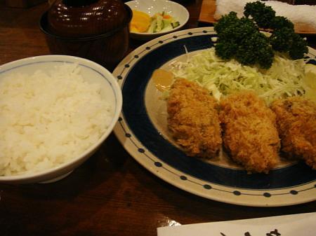 かきフライ(3ヶ)定食@かつ銀
