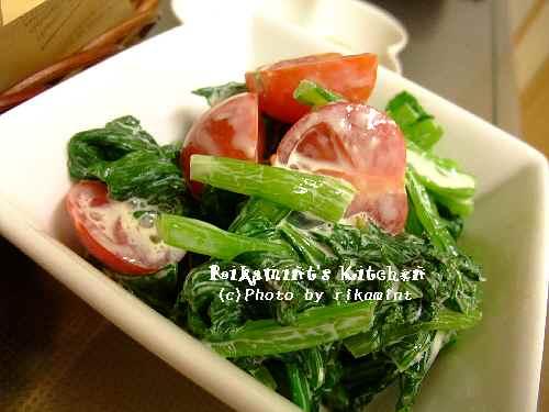 DSCF6・16小松菜とトマトのワサマヨサラダ (1)