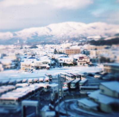 雪化粧した会津若松市内