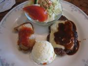 ハンバーグチーズ焼&帆立貝柱ソティートマトソース(縮